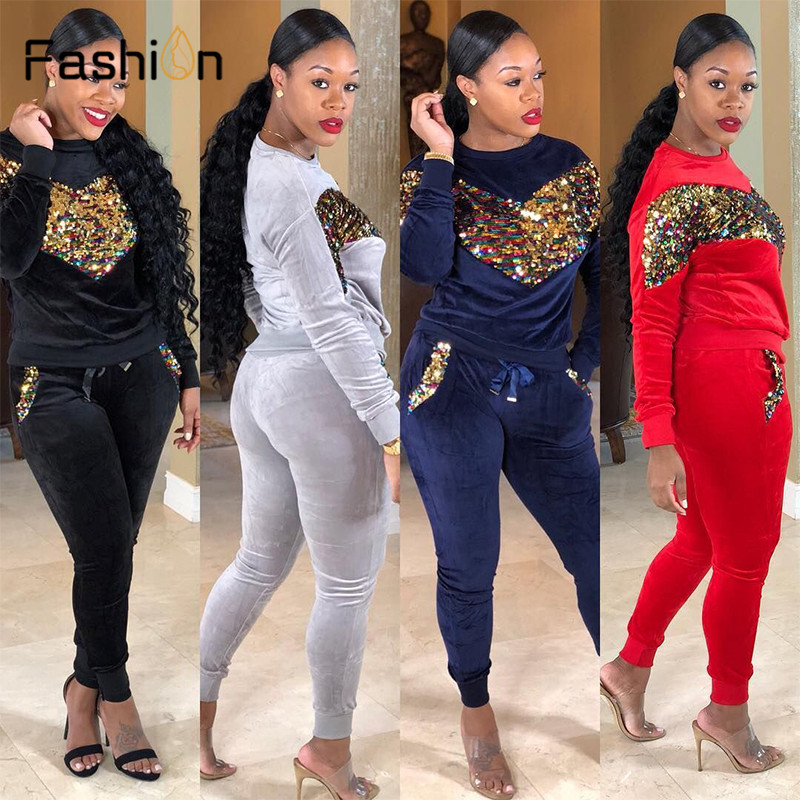 Thick Velvet Sequin 2 Piece Set Women Tracksuit Hoodies Tops And Pant Casual Outfits Suits Fall Winter Velour Sweatsuit Sets