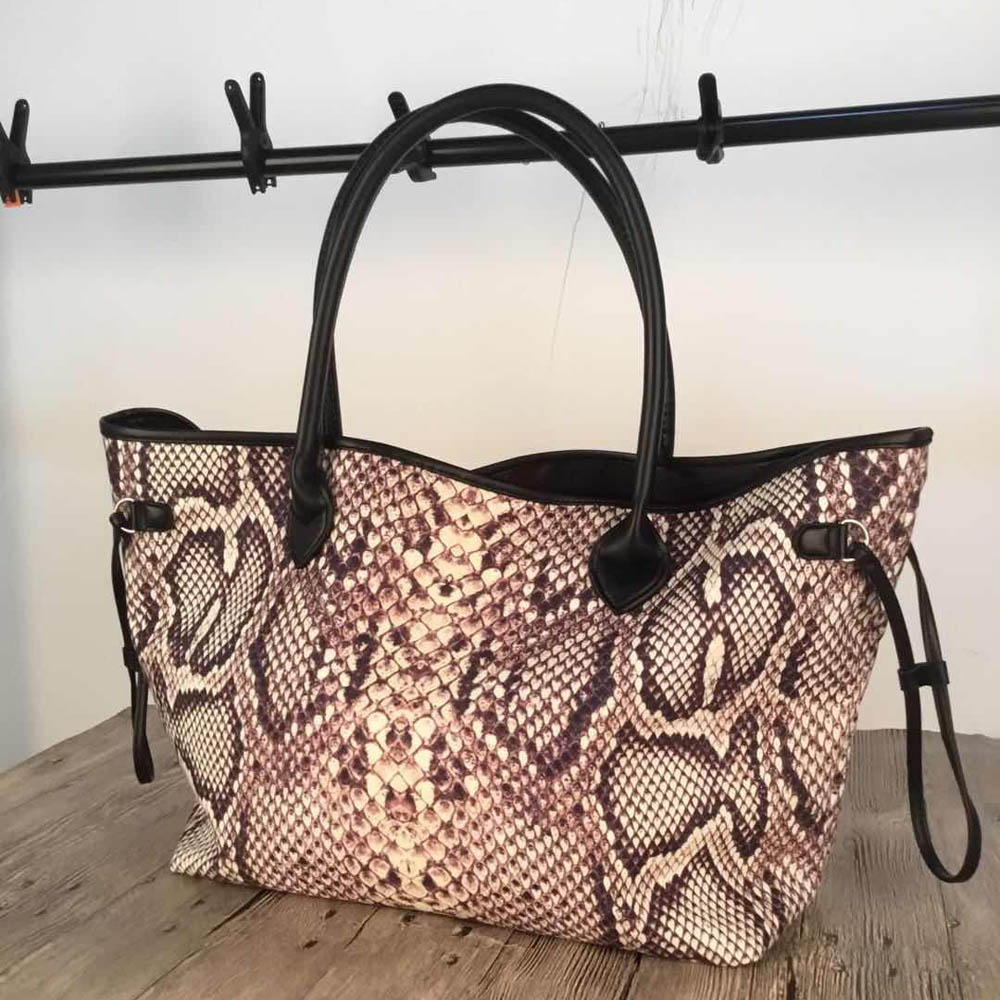 Python Tote Bag Wholesale Blanks Serpentine Canvas String Handbag Endless Snakeskin Women Purse DOM1061269-in Top-Handle Bags from Luggage & Bags    1