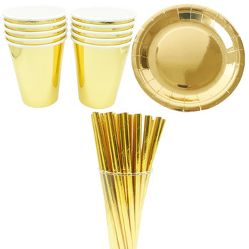 10Pcs/Set Gold Paper Disposable Tableware Christmas Birthday Party Paper Plates Cups Carnival Party Supplies Plastic Straws
