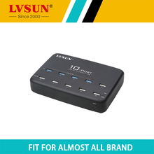 LVSUN High Speed 60W 10 Port Desktop USB Wall Charger Power Adapter USB 2.0 HUB for Tablet iPhone 6 iPad 4 Samsung S5 LS-10UA