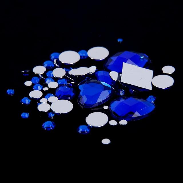 Новые Прибытия Стразы Синий 1000 шт. Смешанные Размеры Круглые Акриловые Номера Hotfix Flatback 3D Nail Art Камни DIY Дизайн украшения