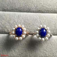 KJJEAXCMY fine jewelry 925 silver inlaid with natural blue gold stone women's ring jewelry female.