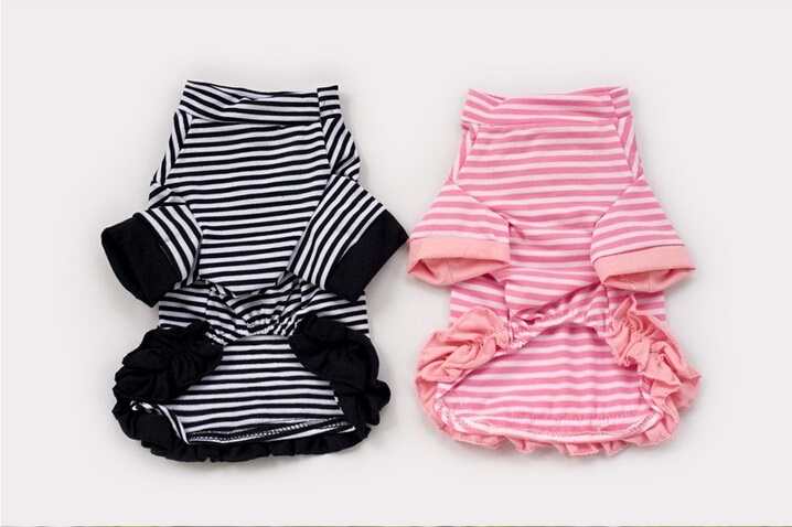 FY25 Free shipping Pet Dog shirt clothes Spring Summer Puppy dog Striped Lace T-shirt dress Hot sale Pet Products for