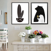 Nordic Wall Pictures For Kid's Room White and Black Abstract Art Posters Cartoon Cactus Bear Print Canvas Painting Home Decor