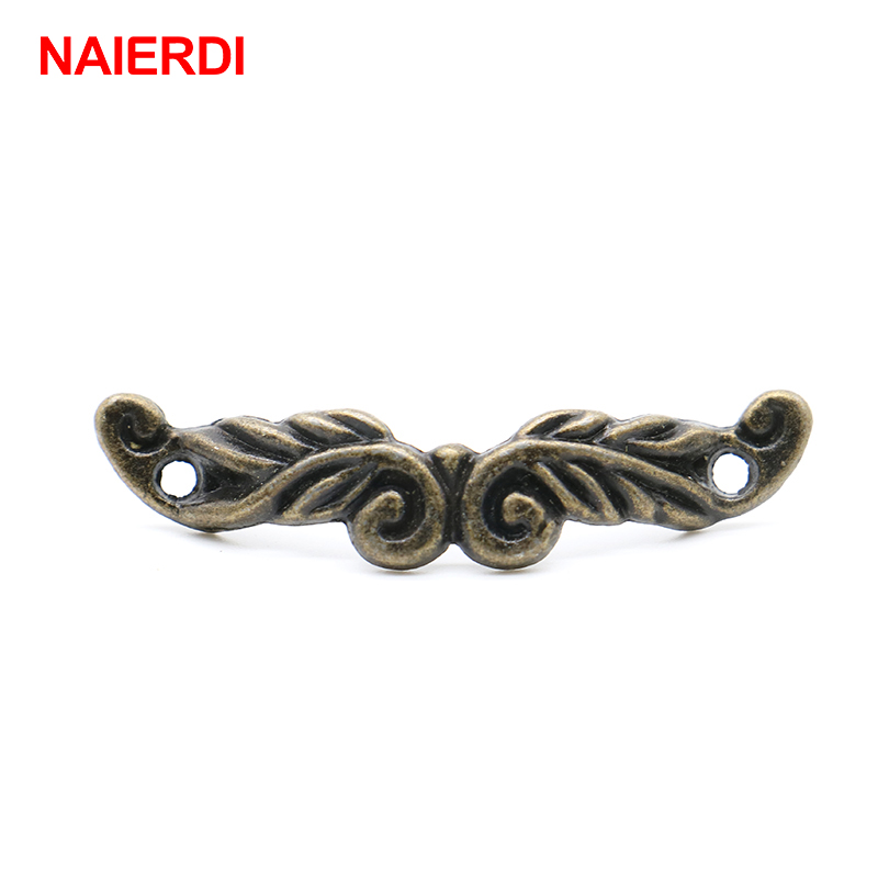 10PCS NAIERDI 46mm x 10mm Bronze Tone Cabinet Drawer Handles Pulls Jewellery Box Handle Knobs With Screws For Furniture Hardware 10pcs naierdi mini bronze gold hinge square antique door hinges for wooden cabinet drawer jewellery box furniture hardware
