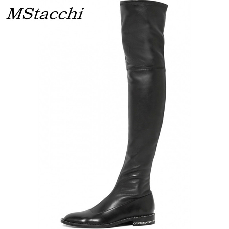 MStacchi Newest Over The Knee Boots Woman Round Toe Silver Chain Flat Long Boots Women Fashion Thigh Boots Leather Botas Mujer women shoes scarpe donna elastic boots botines mujer sapato feminino round toe chaussure femme schoenen vrouw over knee boots