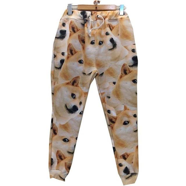 Recentes 3d pant mulheres/homens emoji harajuku longas calças casuais impressão cães amarelos sweatpant Harem pant P49