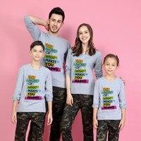 2017 New Pattern Long Sleeve Parent-child Round Neck T T-shirt. Romantic Wedding Parent-child Dress family T shirt