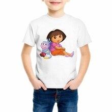 Girls/Boys/Babys/Kids summer clothes T shirts funny top t shirts Kids White comfort Toddler Dora Explorer Tee Shirt 93-2 цена