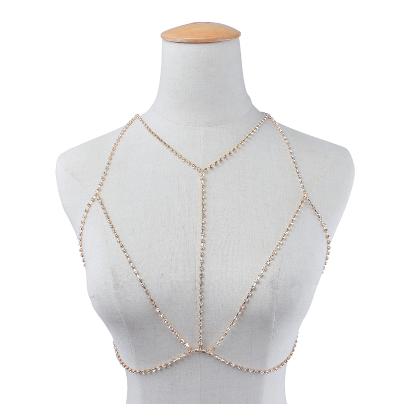 Trendy Sexy Crystal Body Chest Chains Rhinestones Bra Necklace Bikini for Female Charm Party/Beach Luxury Body Jewelry
