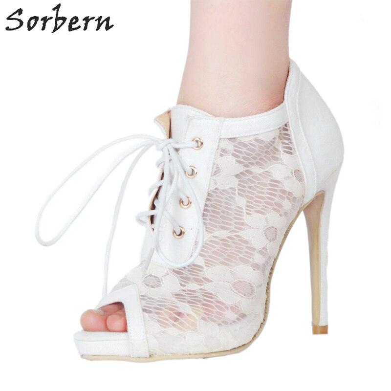 Sorbern White Lace Women Pumps Lace-Up Peep Toe Platform Shoes Ladies Stiletto Shoes Comfortable Women Shoes Women Shoes Pumps trendy women s pumps with pure colour and lace up design