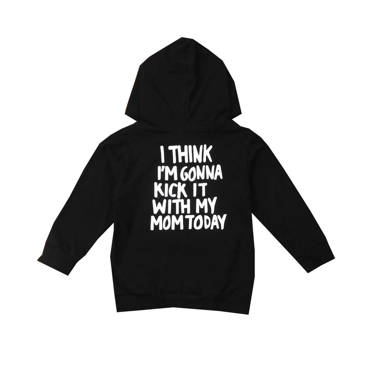 1-6Y Fashion Toddler Baby Girls Boys Hoodies Tops Long Sleeve Black Hooded Letter Print Pullover Tops