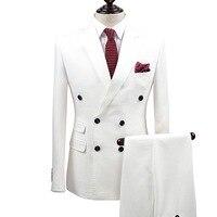 Брендовая одежда Slim Fit Мужские костюмы белый смокинг пальто/брюки 2 шт. двубортный жениха Свадебные костюмы для мужчин Формальное для мальчи