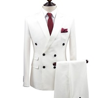 brand clothing slim fit men suits white tuxedo coat/pant 2pc double breasted groom wedding suits for men formal boy prom suits