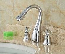 Раковины ванной комнаты кристалл ручки 3 отверстия сосуд раковина водопроводных кранов хромированная отделка