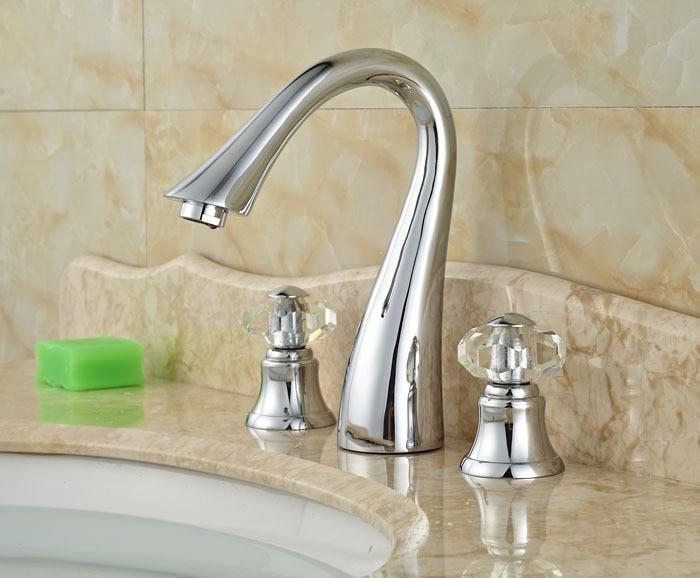 Bathroom Sink Faucet Crystal Handles 3 Holes Basin Vessel Sink Water Taps Chrome Finish