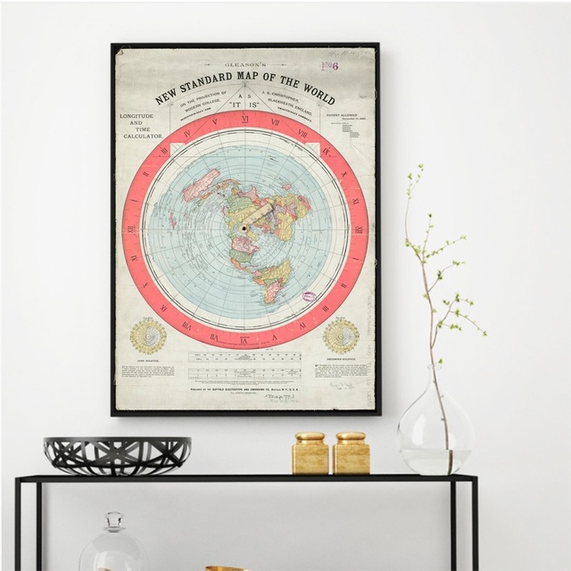 New Standard Map Of The World Art Oil Painting Poster 20x30 Inch