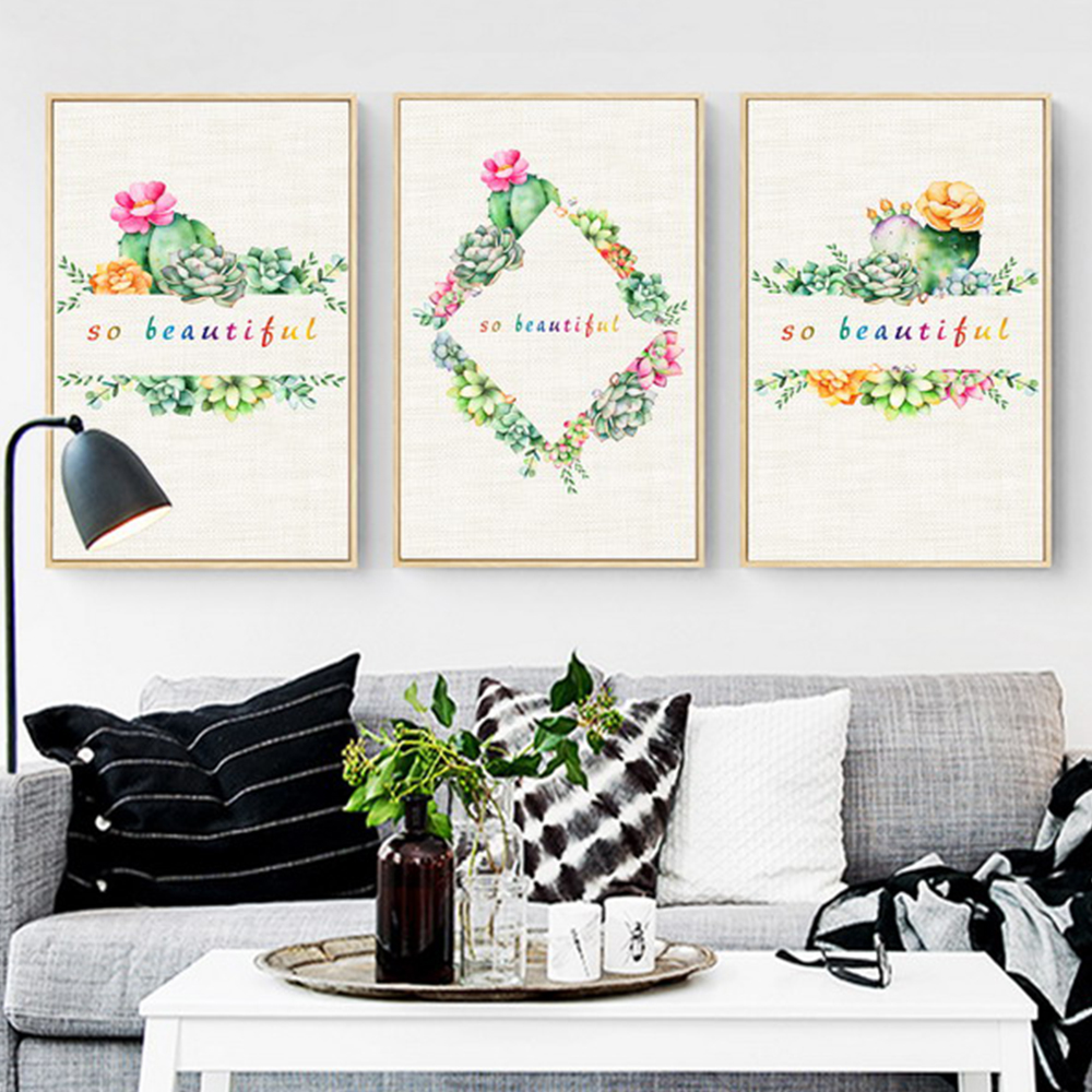 Unframed 3 Canvas Art Paintings Cactus Flower And Text Mural Living Room Decorative Oil Painting Free Shipping