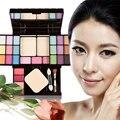 Travel Blusher Lip Gloss Eyeshadow Palette Makeup Kit Brush Mirror Cosmetic Set