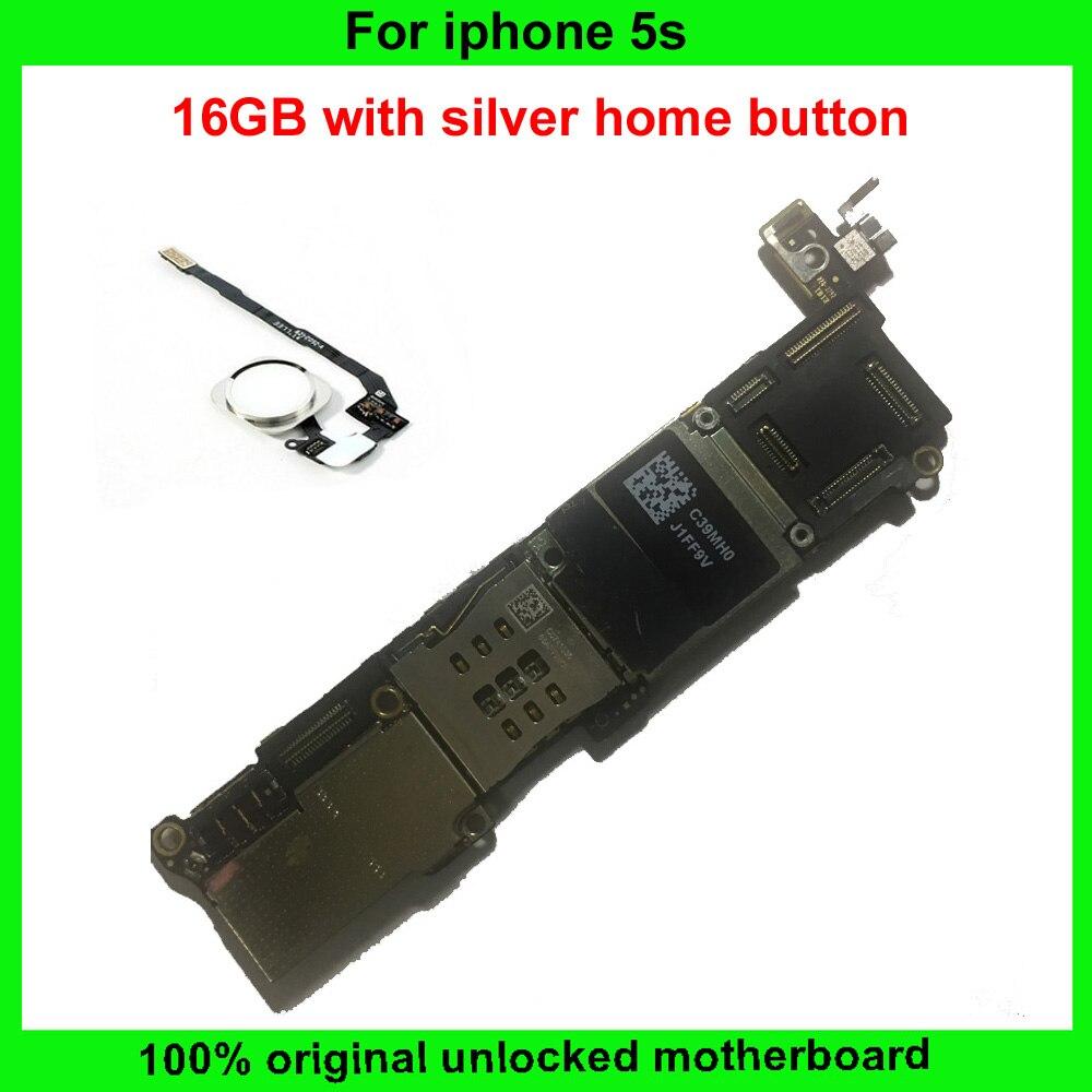 bilder für Für iphone 5 s motherboard 100% ursprünglicher freigesetzter 16 gb mainboard ios system voll chips mit fingerprint sensor platine