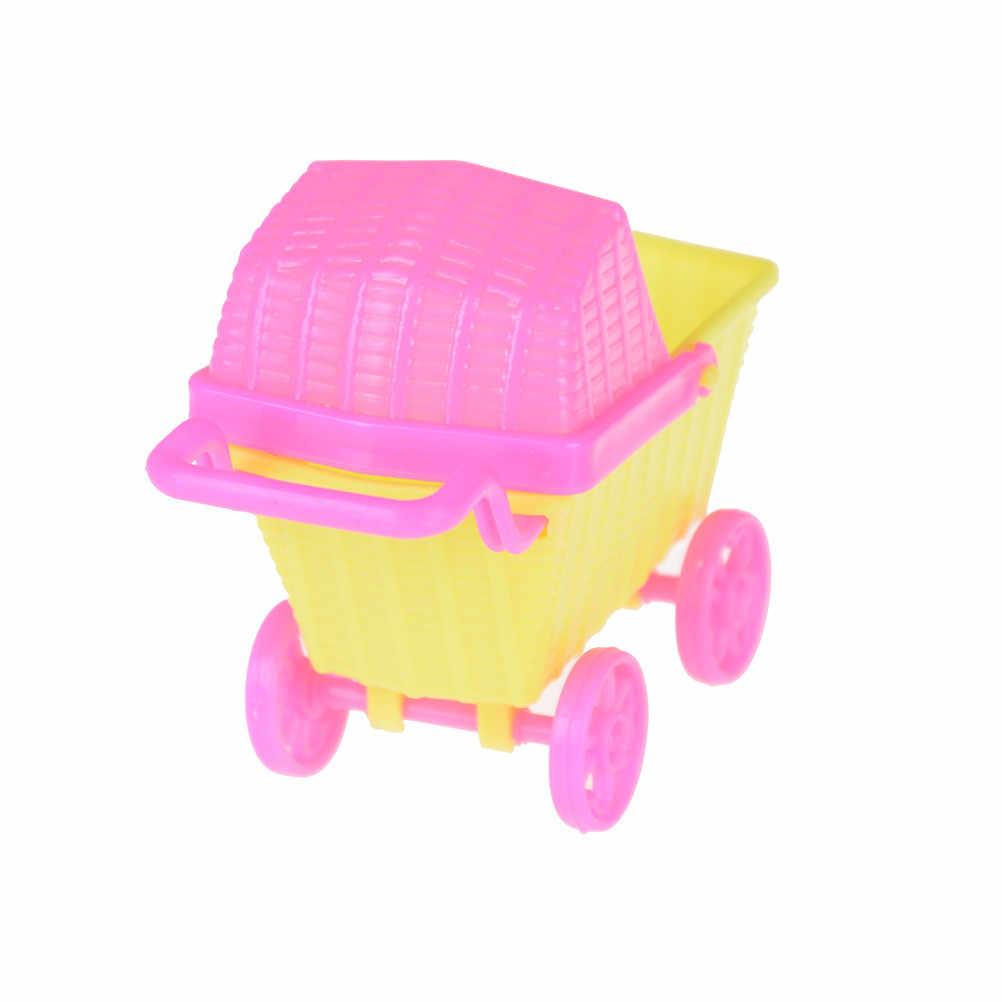 1 قطعة البلاستيك لطيف عربة تسوق صغيرة ل دمى كيلي الأطفال طفلة اختيار الأثاث دمية الاطفال لعبة 11*5*8 سنتيمتر