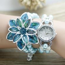 Shsby Mujeres Rhinestone Señoras de Los Relojes de moda correa de la perla Muchos pétalos de flores pulsera relojes de pulsera de cuarzo de las mujeres relojes de vestir