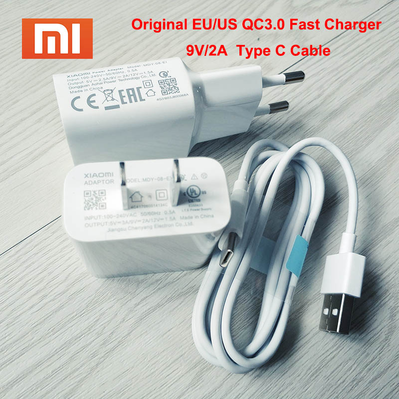 Original Xiaomi Mi 6 Fast Charger Eu/us Plug Adapter Type C Cable Quick Charge For Xiaomi Mi 9 8 Se 6 6x A1 5 5s Plus Mix 2s 2 Mobile Phone Accessories Cellphones & Telecommunications