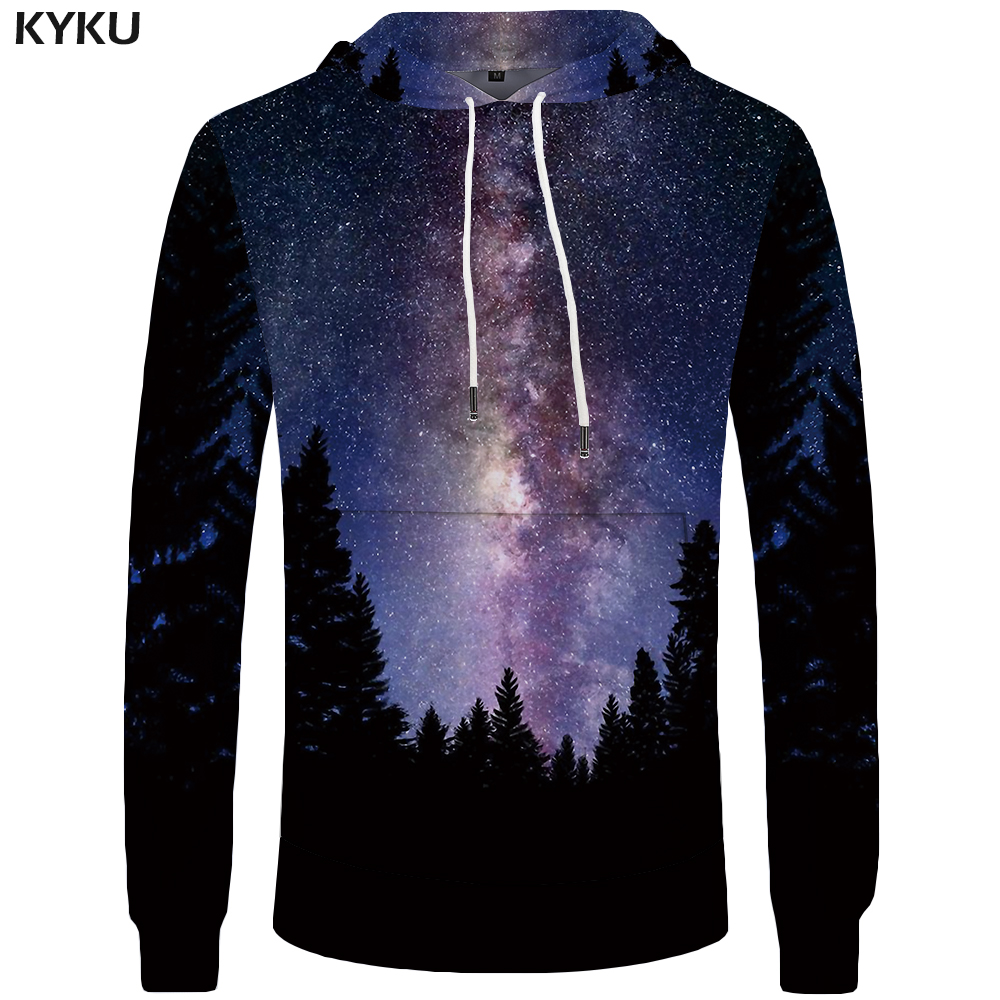 KYKU Galaxy Hoodies Men Jungle Hoddie 3D Pocket Funny Sweatshirts Big Size 3d Hoodies Hip Hop Anime Sweatshirt Clothes