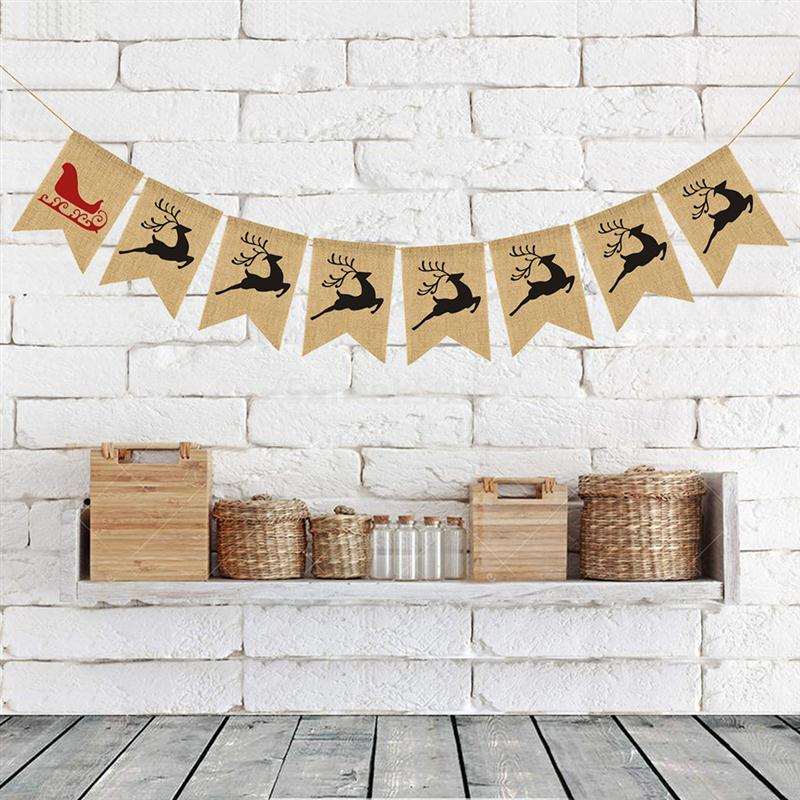 2.8 Meters Cute Christmas Sleigh Elk Deer Pattern Garland Bunting Banners Flag For Door Wall Hanging Decoration Wedding & Anniversary Bands