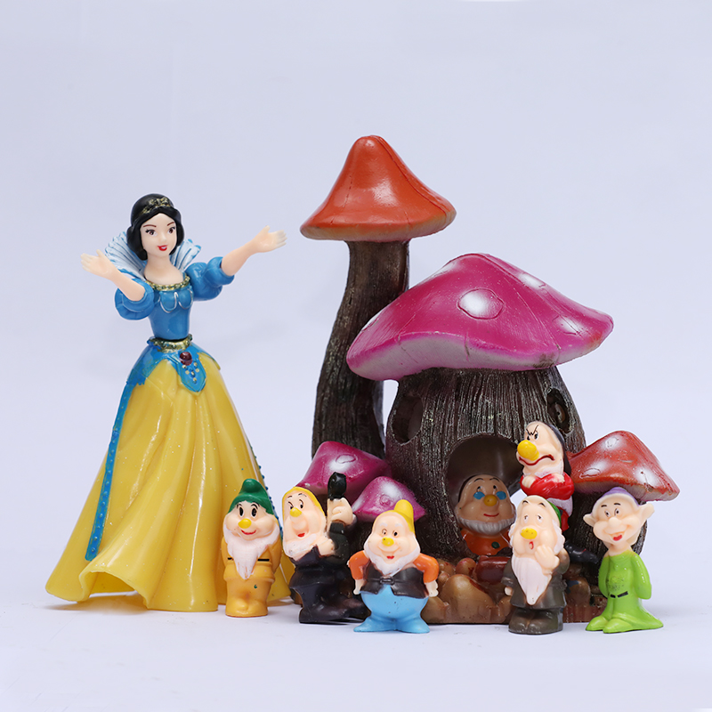 [Temila] Cute Snow White and 7 Dwarfs Mushroom house Scenes Model Action Figure princess doll collection Toy Room decoration