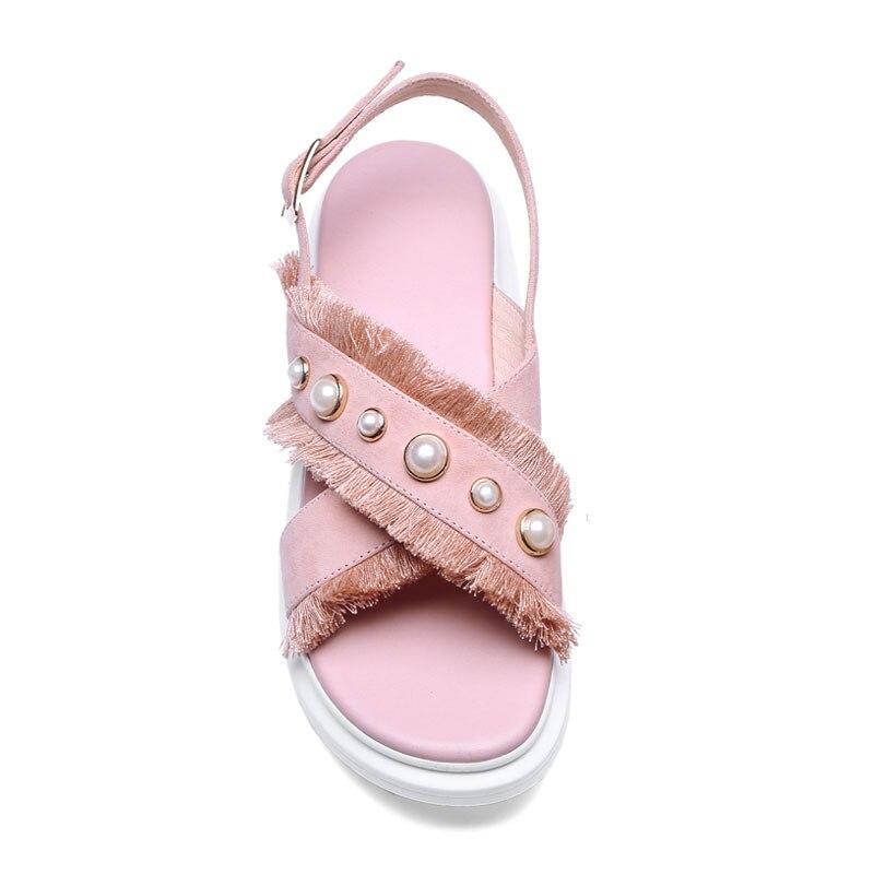 forme Plat D'été Black Causalité Bohème Frange Perle Femmes Nus De En Plate Rose Cuir pink Pieds Fanyuan Sandalie Chaussures Femme Sandales AqgSSw