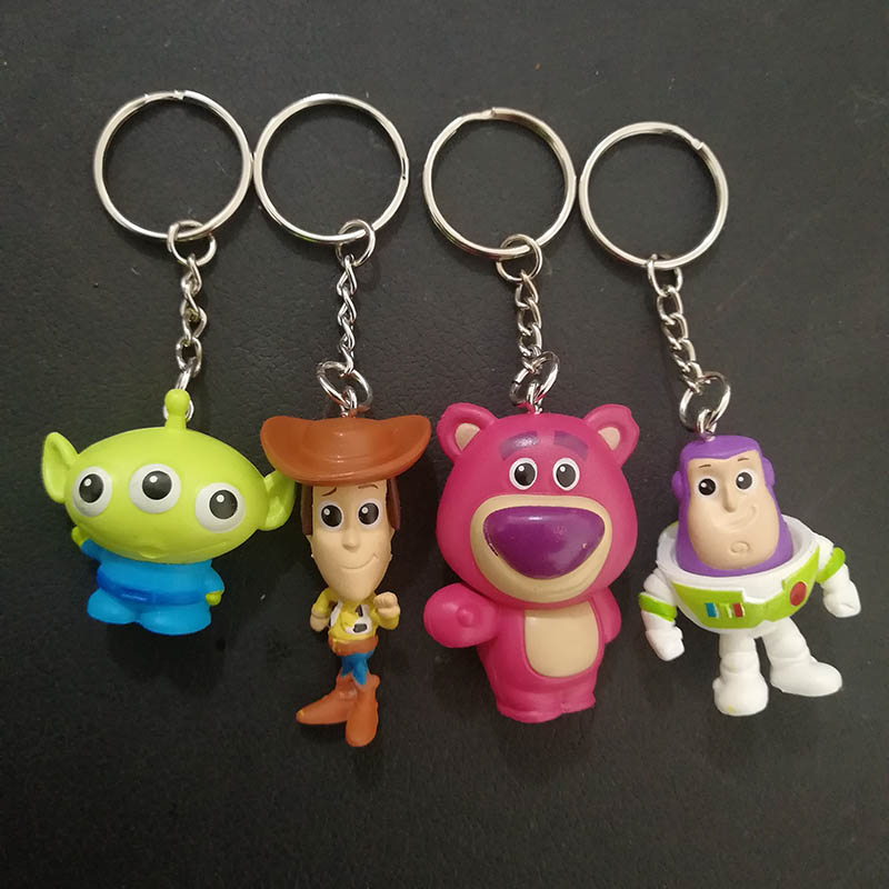 60ps lot Toy Story Toys Keychain Woody Buzz Lightyear Lotso Alien PVC Mini Action Figure Toy