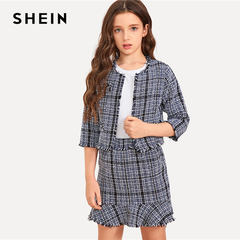 SHEIN Kiddie Girls Grey Raw Hem Tweed Top And Skirt Two Piece Set Kids Clothing 2019 Spring Casual Flounce Children Clothes Set plus asymmetrical flounce shoulder peplum hem blouse