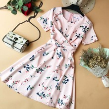 купить Slim Fashion 2019 Summer Floral Print Cross Criss Bandage Mini Short Dress Party Women Robe Ete Casual Elegant A-Line Vestidos дешево