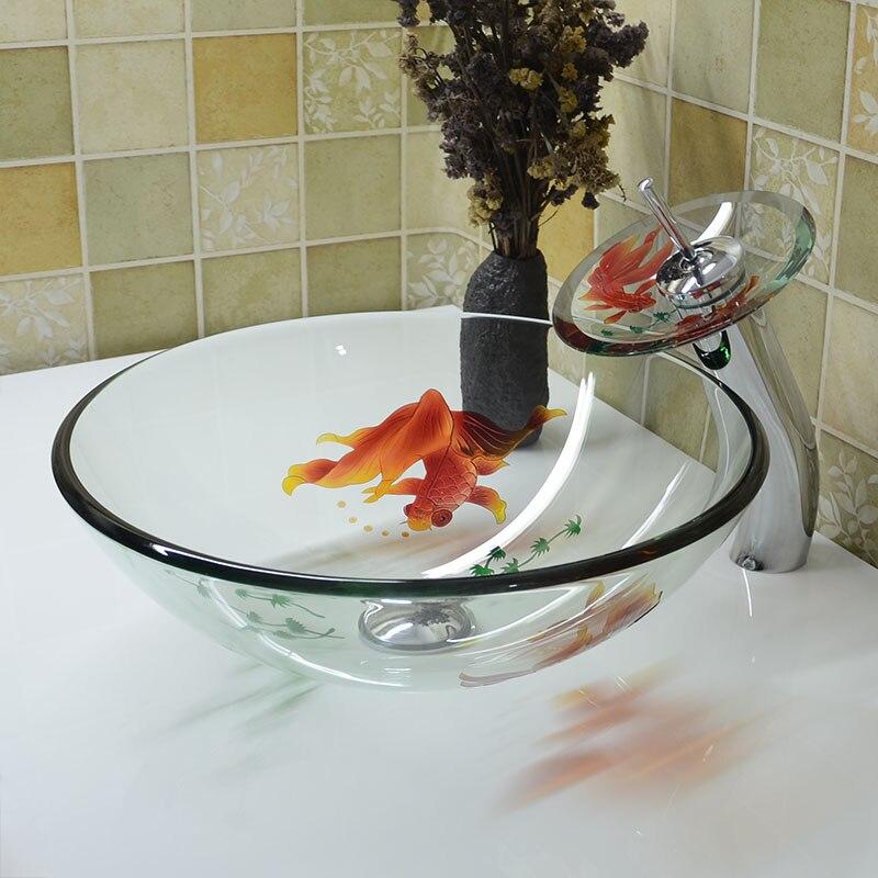 Chine Fait Main Lavabo Lavabo Art lavabo en verre Comptoir Lavabo Salle De Bains navire Coule évier bols lo626556