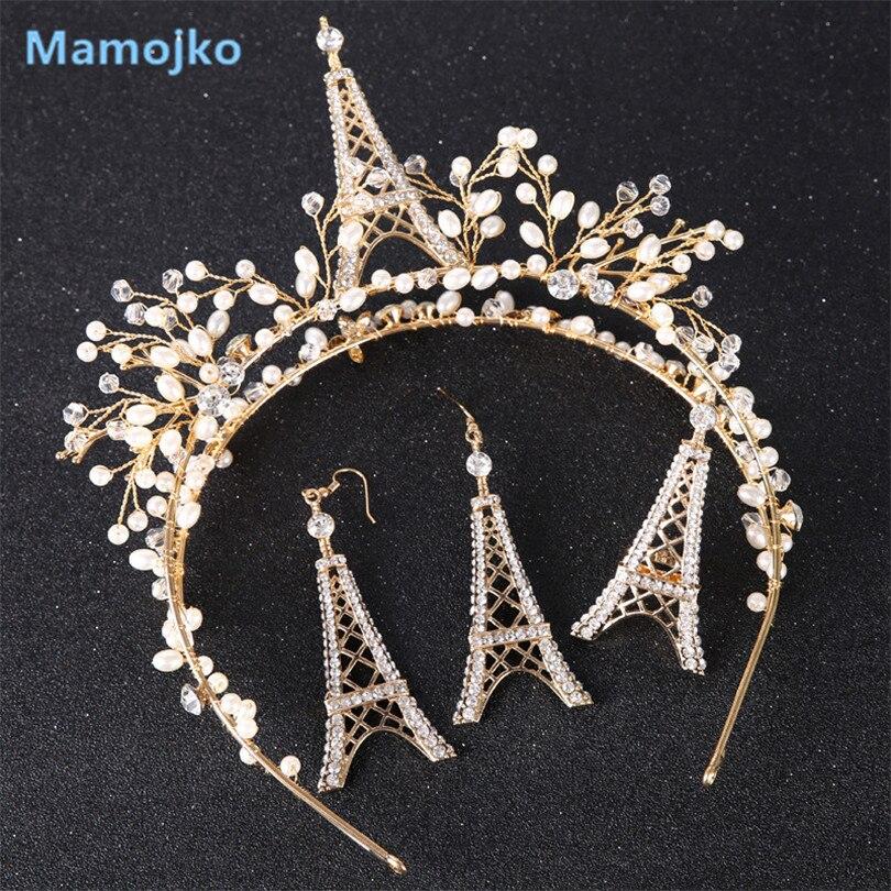 Mamojko Luxury Imitation Pearls Eiffel Tower Flower Headbands For Woman 2017 Wedding Jewelry Set Earring Ring