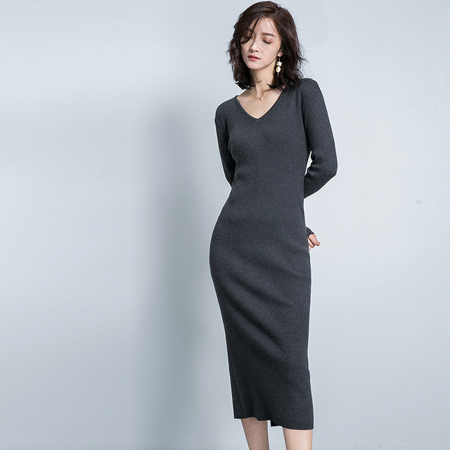Us50 Style V Color Sweater Dress In Korea Fashion Long Neck Pencil 88vestido Women's Sleeve Full One Piece Solid Dresses Sexy Slim Knitted ZPXkOilwuT