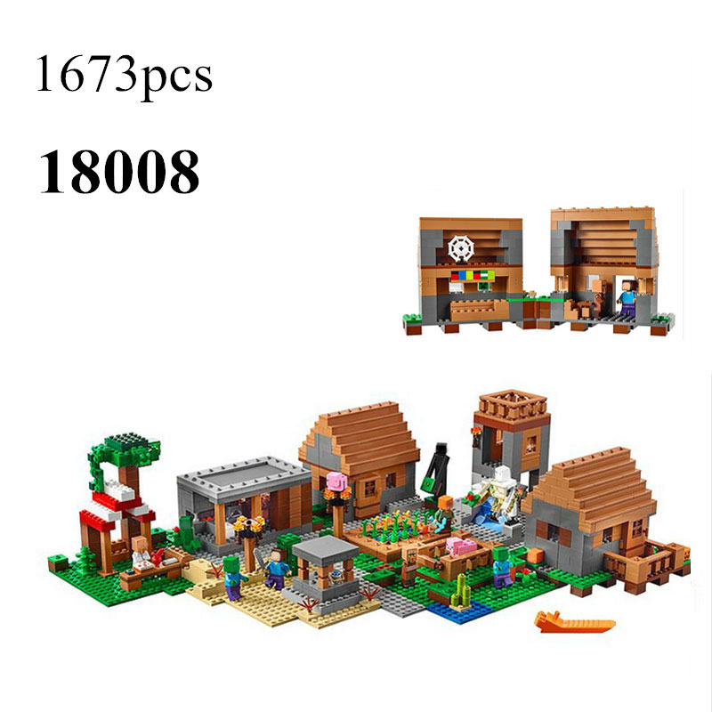 LEPIN 18008 1673pcs Model building kits compatible my worlds MineCraft Village blocks Educational toys hobbies for