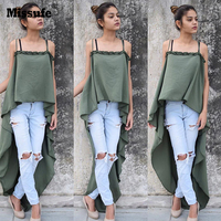 Missufe 7 Colors Large Hem Irregular Fashion High Street Casual Top Shirts For Women Sexy Strapless