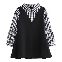 girls dress 2019 Spring and Autumn new childrens cotton long-sleeved plaid shirt School stitching students 2-8