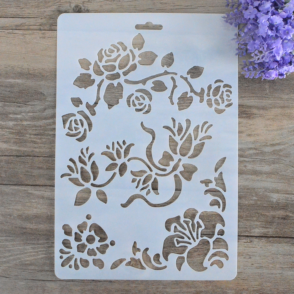 Diy craft birds flowers stencils for walls scrapbooking - Moldes para pintar paredes ...
