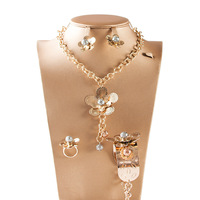 Dealky Women Necklace Jewelry Saudi India Gold Necklace Set African 4 Pcs Fashion Jewelry Sets For