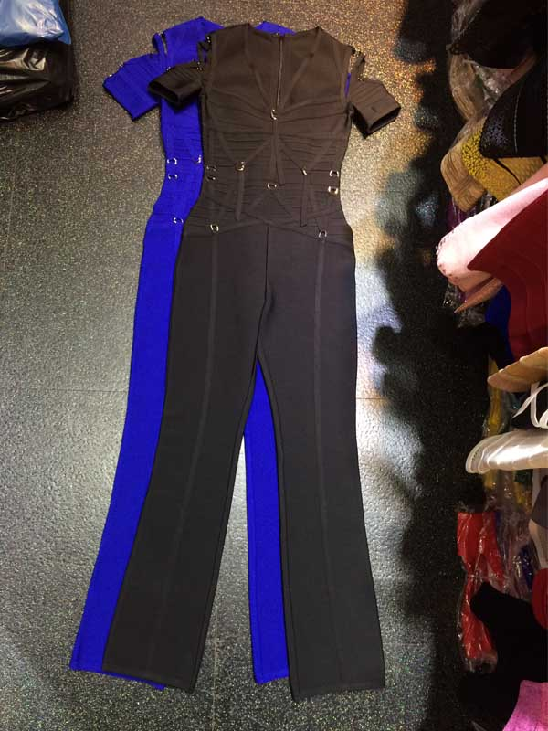 wholesale new Jumpsuits Black And blue stretch knit Fashion casual woman bandage Rompers (H1492)