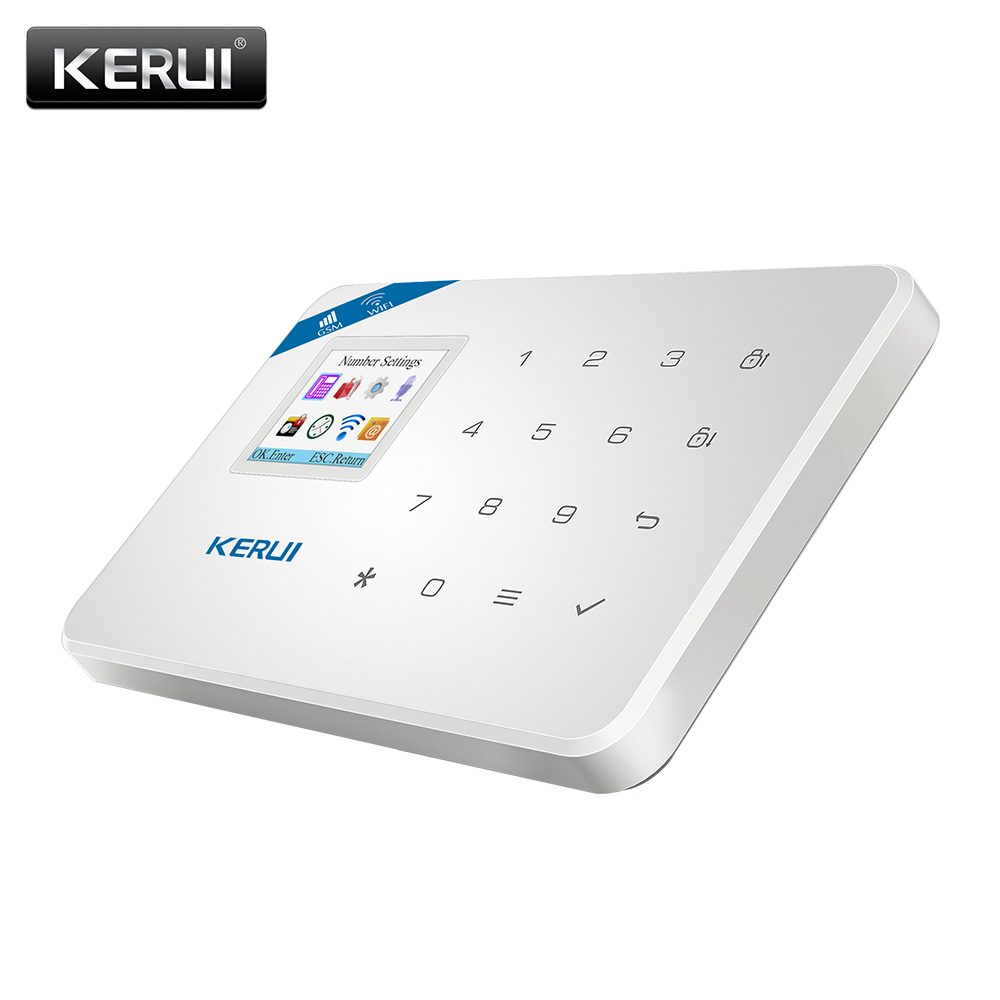KERUI W18 433MHz 4 Language Security Alarm System Wireless 1.7-inch IOS/Android APP Control Wifi GSM Home Burglar Alarm Suits