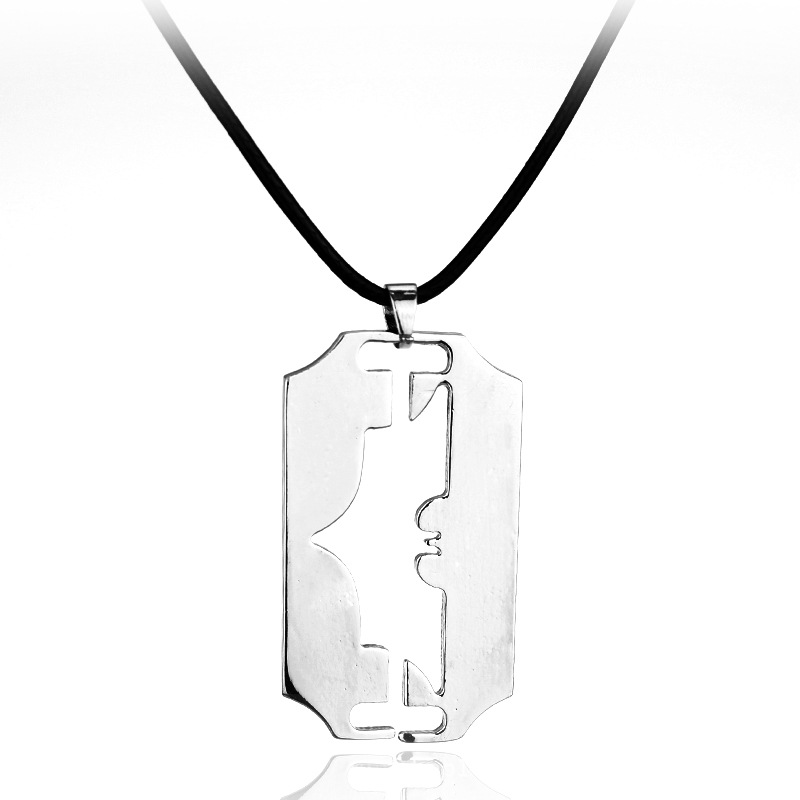 Razor Blade Necklace Men Jewelry Trendy Silver Color Pendant & Chain Fathers Day Gifts MB