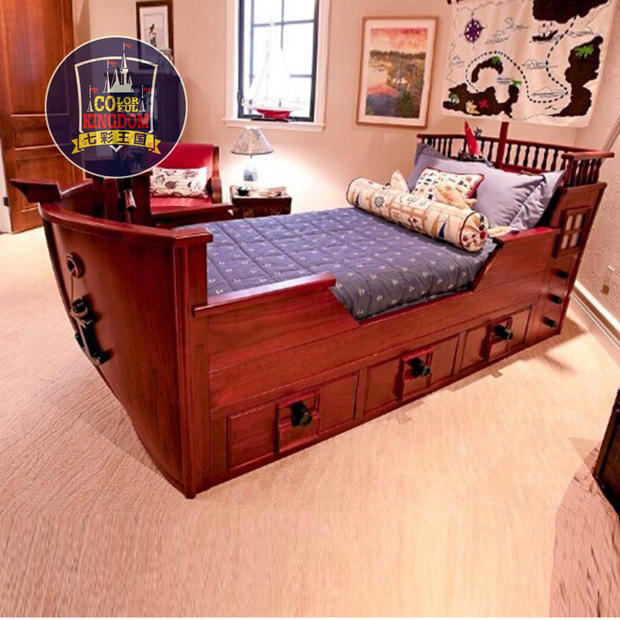 American Continental Bed Childrens Furniture Wood Pirate Ship Boy Bedroom