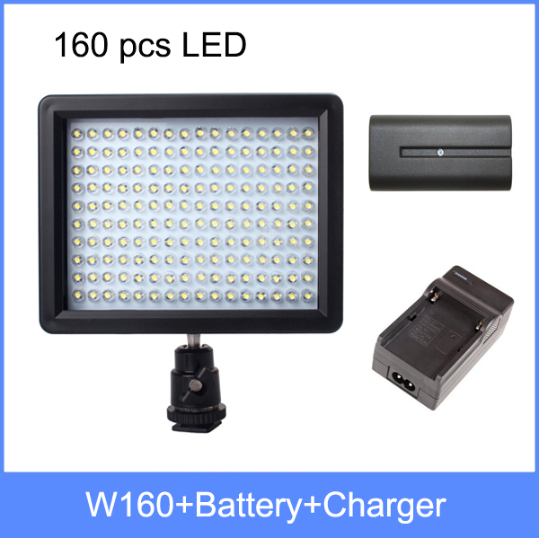 WanSen W160 LED Video Camera Light Lamp DV with 4600mAh NP-F750 battery + Charger set For Canon Nikon Pentax Camcorder