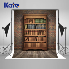 Kate  8x8ft Retro Bookcase Photography Backdrops Brick Baby Birthday Backdrop Back To School Photo Backgrounds