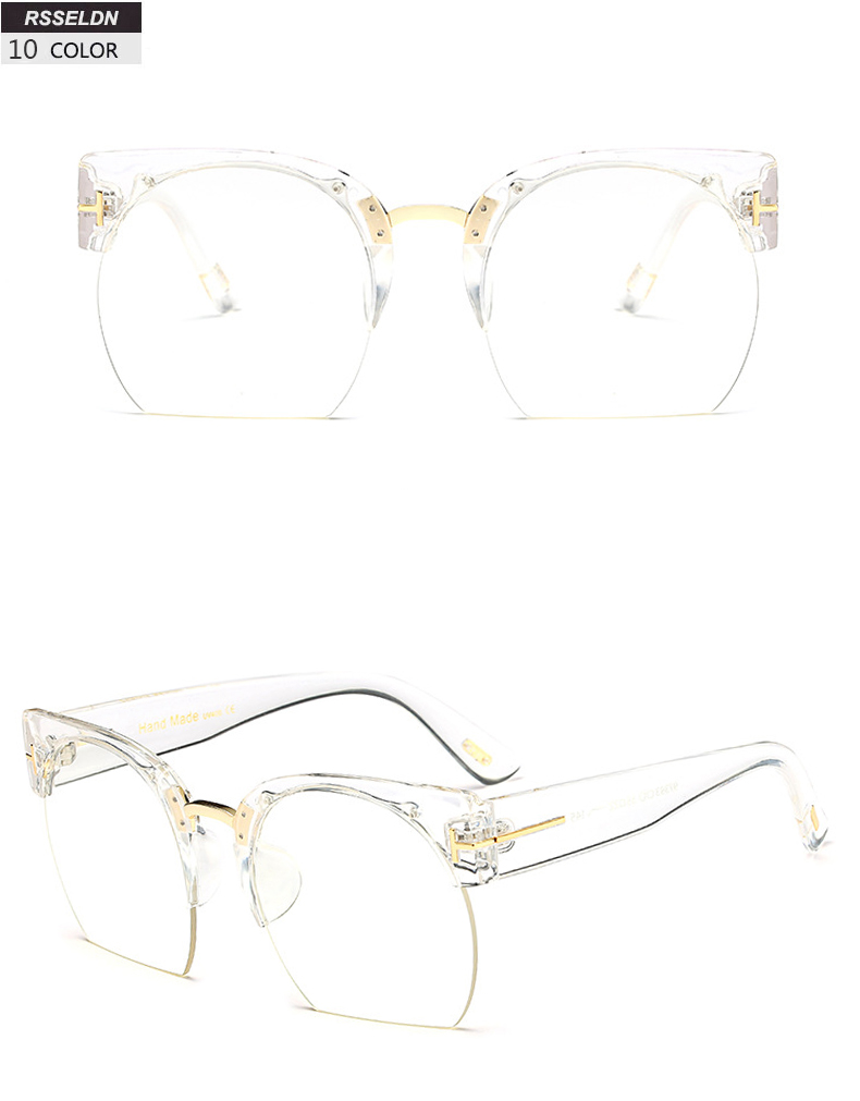 HTB1ZF0wSpXXXXa.aFXXq6xXFXXXq - RSSELDN Newest Semi-Rimless Sunglasses Women Brand Designer Clear Lens Sun Glasses For Women Fashion Sunglass Vintage oculos