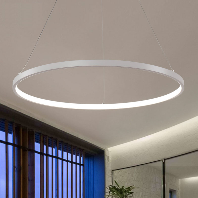AC85 265V サークルペンダントのシャンデリアの照明ダイニングルームリングアルミぶら下げシャンデリア光沢デ飾り近代  グループ上の ライト & 照明 からの シャンデリア の中 2